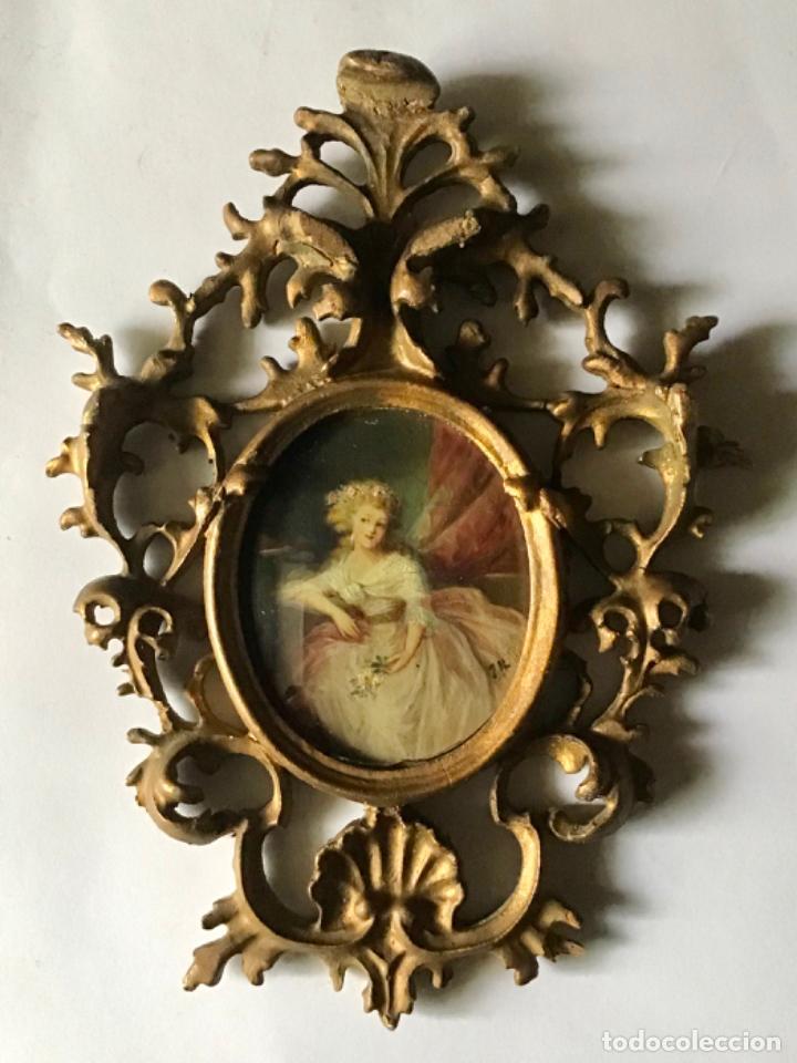 ANTIGUA PINTURA MINIATURA ,ORIGINAL SIGLO 18 , RETRATO DAMA DE EPOCA ESCUELA ESPAÑOLA (Arte - Pintura - Pintura al Óleo Antigua siglo XVIII)