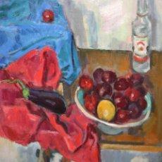 Arte: IGNASI MUNDÓ MARCET (BARCELONA, 1918 - 2012) OLEO SOBRE TELA DEL AÑO 1976. TITULADO LES PRUNES. Lote 195231826