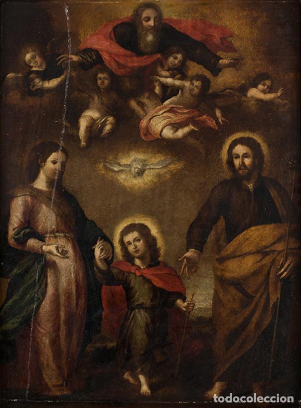 ÓLEO S/TABLA CON MARCO DE ÉPOCA. SIGLO XVII -SAGRADA FAMILIA-. CÍRCULO DE MURILLO. DIM.- 71X56.5 CMS (Arte - Pintura - Pintura al Óleo Antigua siglo XVII)