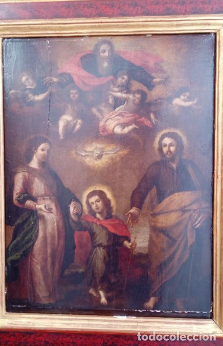 Arte: ÓLEO S/TABLA CON MARCO DE ÉPOCA. SIGLO XVII -SAGRADA FAMILIA-. CÍRCULO DE MURILLO. DIM.- 71X56.5 CMS - Foto 3 - 195234883