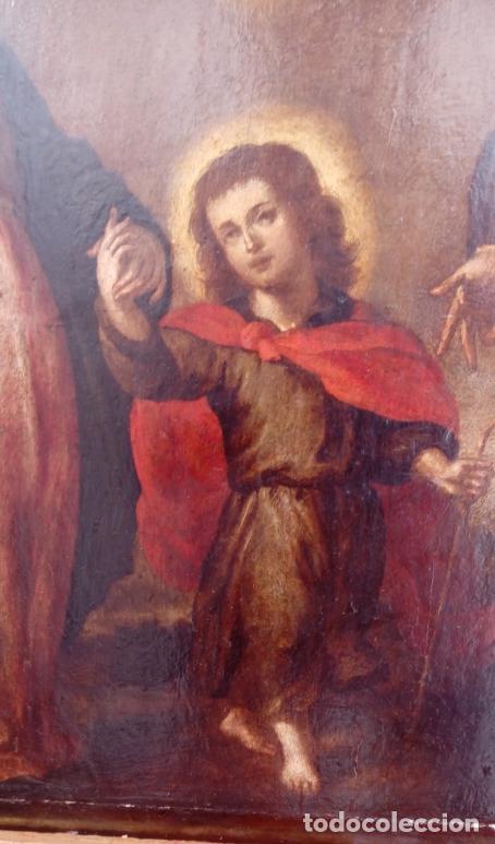 Arte: ÓLEO S/TABLA CON MARCO DE ÉPOCA. SIGLO XVII -SAGRADA FAMILIA-. CÍRCULO DE MURILLO. DIM.- 71X56.5 CMS - Foto 9 - 195234883