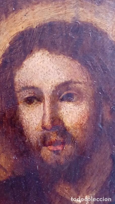 Arte: ÓLEO S/TABLA CON MARCO DE ÉPOCA. SIGLO XVII -SAGRADA FAMILIA-. CÍRCULO DE MURILLO. DIM.- 71X56.5 CMS - Foto 11 - 195234883