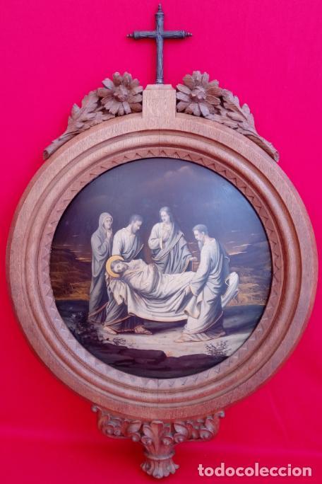 ÓLEO S/COBRE -ENTIERRO DE CRISTO-. SIGLO XVII -ESC ITALIANA-.CÓNCAVO CONVEXO. 30 CMS DE DIÁMETRO.. (Arte - Pintura - Pintura al Óleo Antigua siglo XVII)