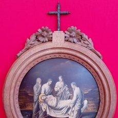 Arte: ÓLEO S/COBRE -ENTIERRO DE CRISTO-. SIGLO XVII -ESC ITALIANA-.CÓNCAVO CONVEXO. 30 CMS DE DIÁMETRO... Lote 195240737