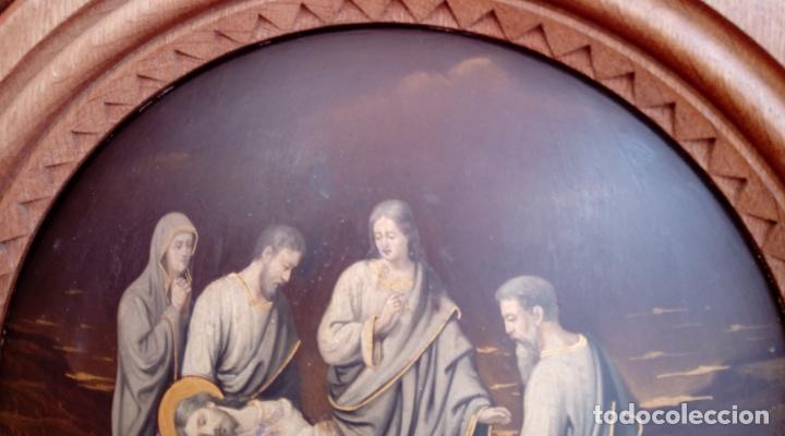 Arte: ÓLEO S/COBRE -ENTIERRO DE CRISTO-. SIGLO XVII -ESC ITALIANA-.CÓNCAVO CONVEXO. 30 CMS DE DIÁMETRO.. - Foto 3 - 195240737