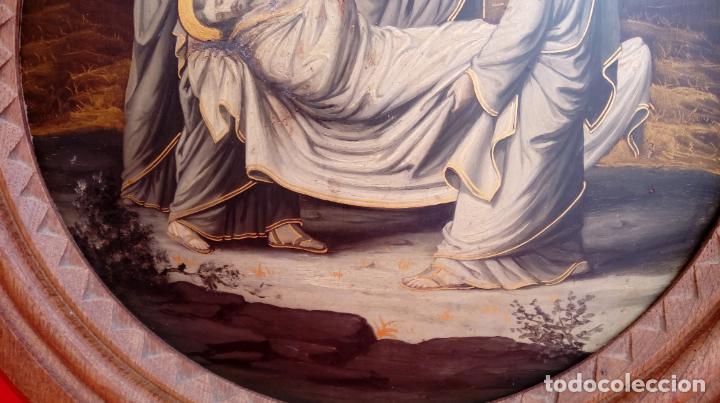Arte: ÓLEO S/COBRE -ENTIERRO DE CRISTO-. SIGLO XVII -ESC ITALIANA-.CÓNCAVO CONVEXO. 30 CMS DE DIÁMETRO.. - Foto 5 - 195240737