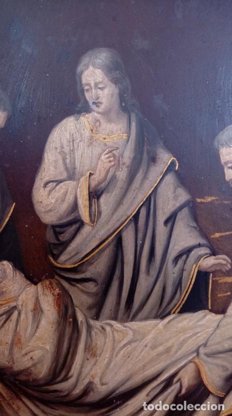 Arte: ÓLEO S/COBRE -ENTIERRO DE CRISTO-. SIGLO XVII -ESC ITALIANA-.CÓNCAVO CONVEXO. 30 CMS DE DIÁMETRO.. - Foto 6 - 195240737