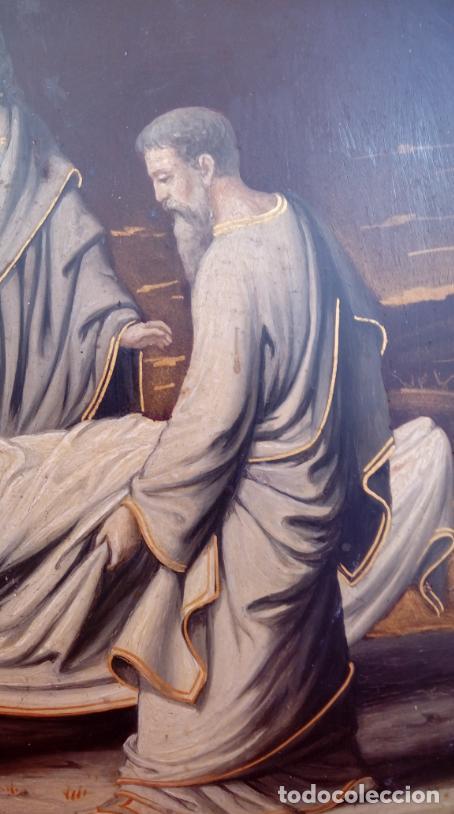 Arte: ÓLEO S/COBRE -ENTIERRO DE CRISTO-. SIGLO XVII -ESC ITALIANA-.CÓNCAVO CONVEXO. 30 CMS DE DIÁMETRO.. - Foto 7 - 195240737