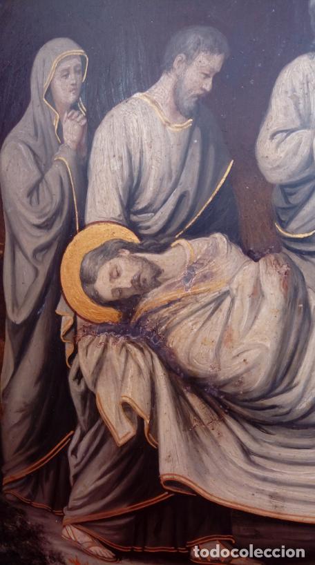 Arte: ÓLEO S/COBRE -ENTIERRO DE CRISTO-. SIGLO XVII -ESC ITALIANA-.CÓNCAVO CONVEXO. 30 CMS DE DIÁMETRO.. - Foto 9 - 195240737