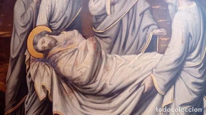Arte: ÓLEO S/COBRE -ENTIERRO DE CRISTO-. SIGLO XVII -ESC ITALIANA-.CÓNCAVO CONVEXO. 30 CMS DE DIÁMETRO.. - Foto 10 - 195240737