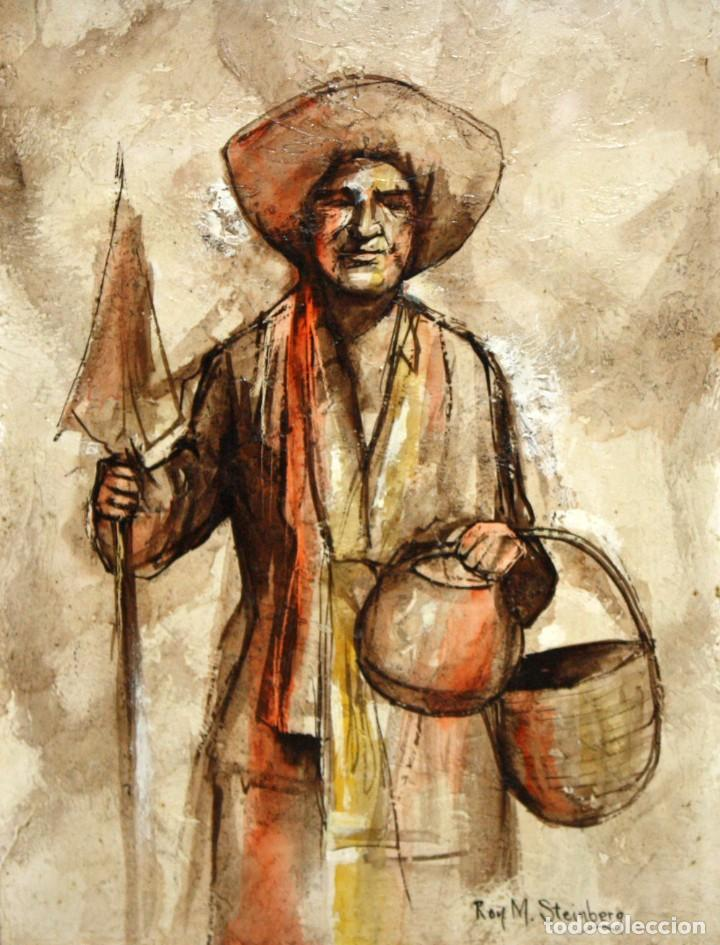ROY M. STEINBERG (USA, SIGLO XX) OLEO SOBRE TABLEX FIRMADO. RETRATO DE UN CHIAPA (Arte - Pintura - Pintura al Óleo Contemporánea )
