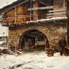 Arte: JOSEP COLOMER I COMAS (SANT FELIU DE PALLEROLS. GIRONA 1935 - 2003) OLEO SOBRE TELA. PAISAJE NEVADO. Lote 195245502