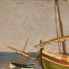 Arte: SALVADOR MORAGAS BOTEY (PREMIÀ DE MAR 1911-1992). ÓLEO/TELA 25 X 20 CM. BADALONA 1940. FIRMADO.. Lote 195249368