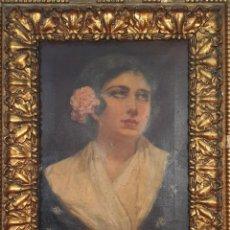 Arte: RETRATO DE MAJA. ÓLEO SOBRE LIENZO. FIRMADO P. RUIZ. SIGLO XIX-XX.. Lote 195252155