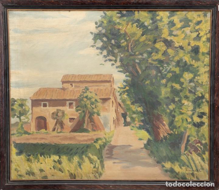 ÓLEP PINTOR C. FABREGAT - PAISAJE VISTA RURAL - JULIO DE 1939 - OBRA POST-GUERRA - 58 X 69 CM (Arte - Pintura - Pintura al Óleo Moderna siglo XIX)