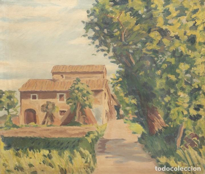 Arte: ÓLEP PINTOR C. FABREGAT - PAISAJE VISTA RURAL - JULIO DE 1939 - OBRA POST-GUERRA - 58 x 69 cm - Foto 2 - 195252310