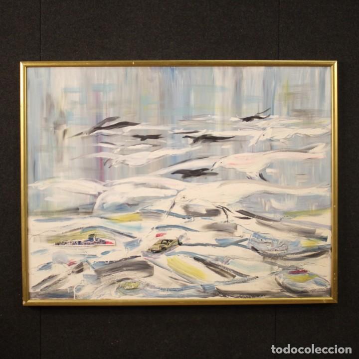 PINTURA FRANCESA BANDADA DE GAVIOTAS EN EL MAR (Arte - Pintura - Pintura al Óleo Moderna sin fecha definida)
