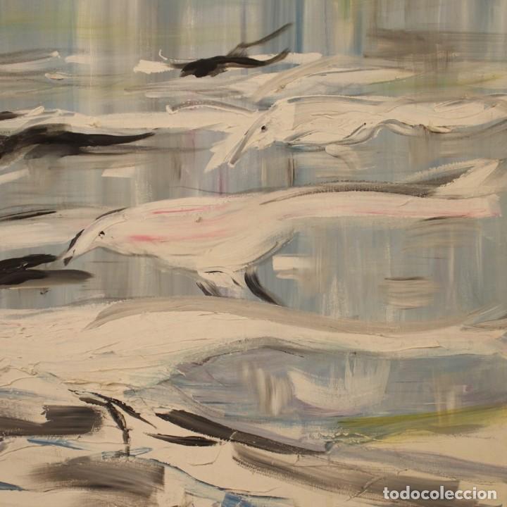 Arte: Pintura francesa bandada de gaviotas en el mar - Foto 3 - 195254853