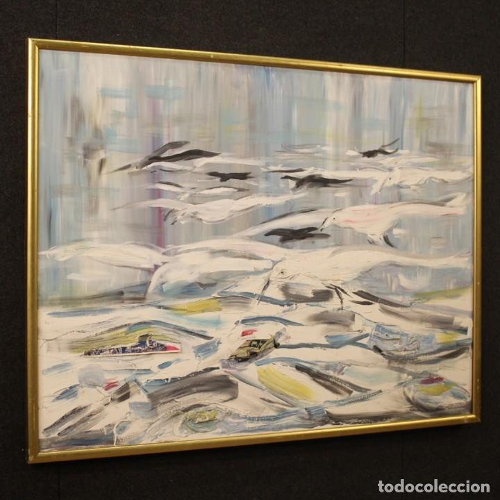 Arte: Pintura francesa bandada de gaviotas en el mar - Foto 7 - 195254853