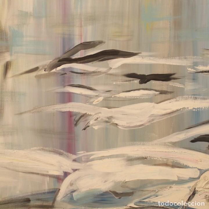 Arte: Pintura francesa bandada de gaviotas en el mar - Foto 9 - 195254853