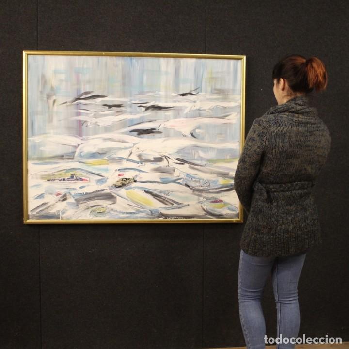 Arte: Pintura francesa bandada de gaviotas en el mar - Foto 12 - 195254853