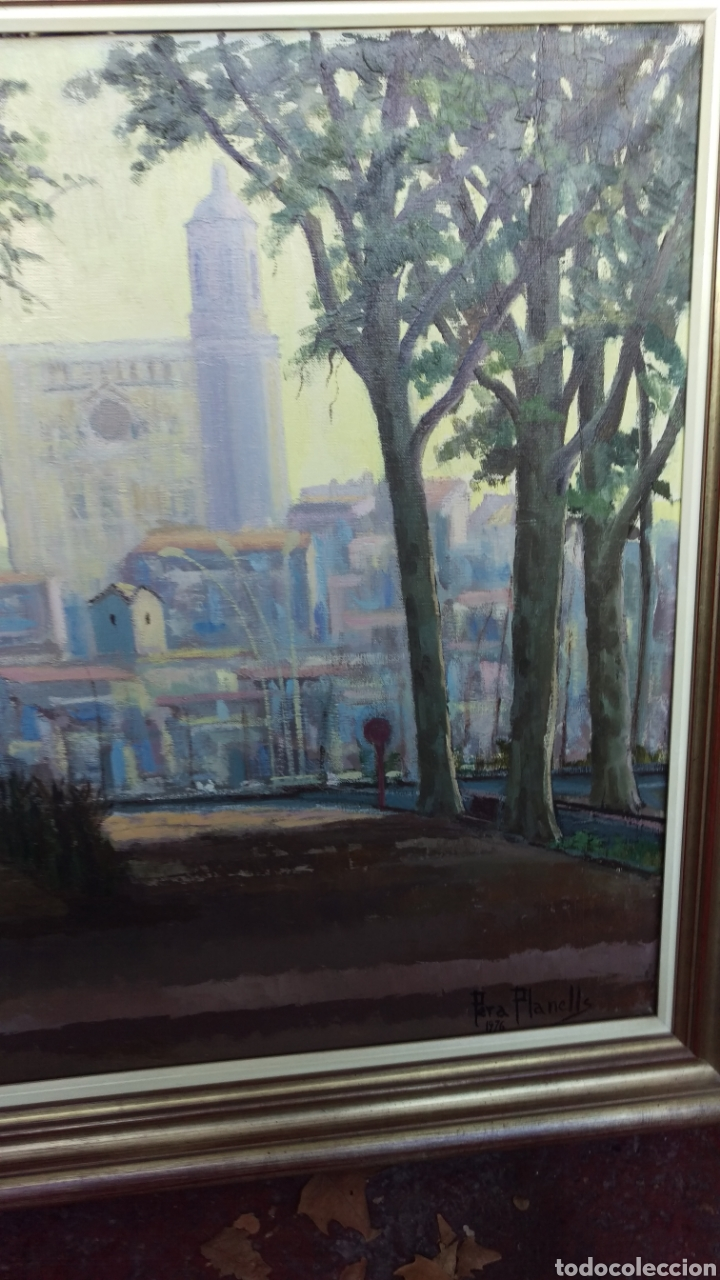 Arte: Agustí Pera Planells; Interesante pintura oleo VISIO DEL CAMPANS GIRONA 1976 - Foto 2 - 195254995