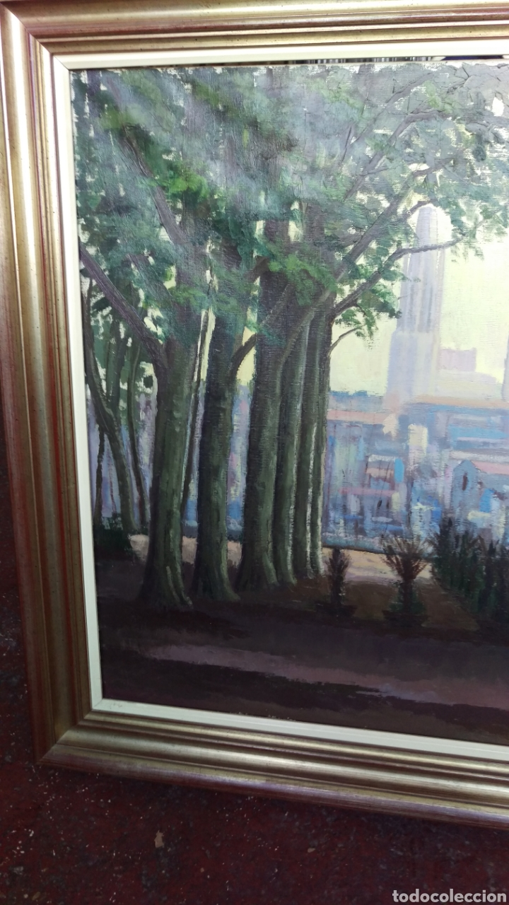 Arte: Agustí Pera Planells; Interesante pintura oleo VISIO DEL CAMPANS GIRONA 1976 - Foto 4 - 195254995