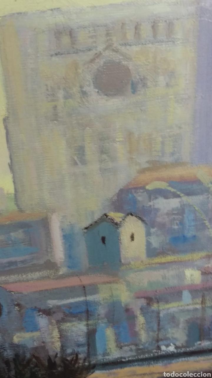 Arte: Agustí Pera Planells; Interesante pintura oleo VISIO DEL CAMPANS GIRONA 1976 - Foto 5 - 195254995
