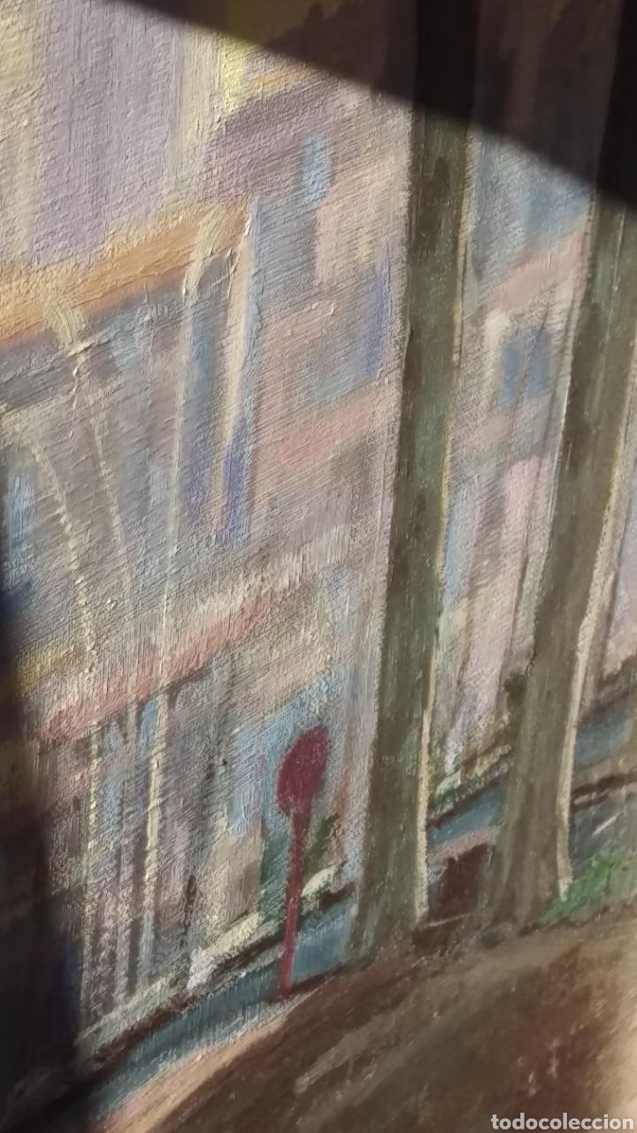 Arte: Agustí Pera Planells; Interesante pintura oleo VISIO DEL CAMPANS GIRONA 1976 - Foto 8 - 195254995