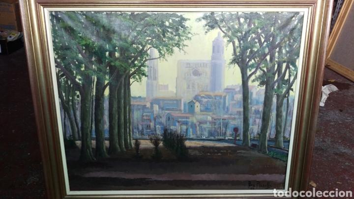 AGUSTÍ PERA PLANELLS; INTERESANTE PINTURA OLEO ''VISIO DEL CAMPANS'' GIRONA 1976 (Arte - Pintura Directa del Autor)