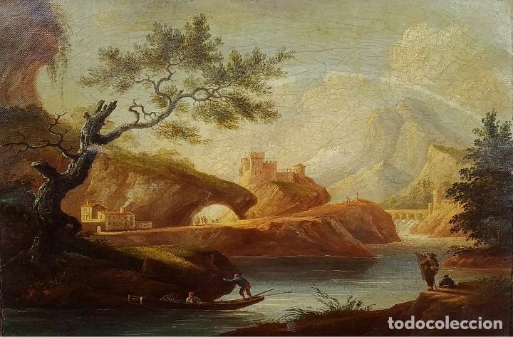 PAISAJE ROMÁNTICO. ÓLEO SOBRE LIENZO. ESCUELA NAPOLITANA (?). ITALIA. XVIII-XIX (Arte - Pintura - Pintura al Óleo Antigua siglo XVIII)