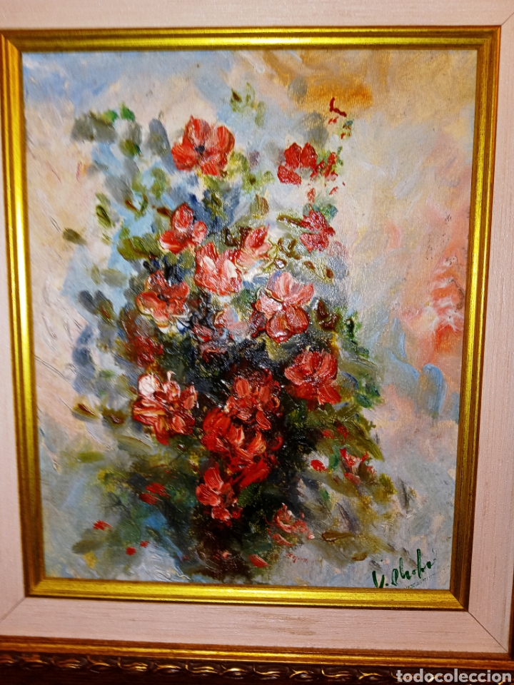 Arte: OLEO SOBRE LIENZO - BODEGON FLORAL - FIRMADO CHOLVE O CHOVAR - MARCO MADERA Y PAN DE ORO - Foto 3 - 195284297
