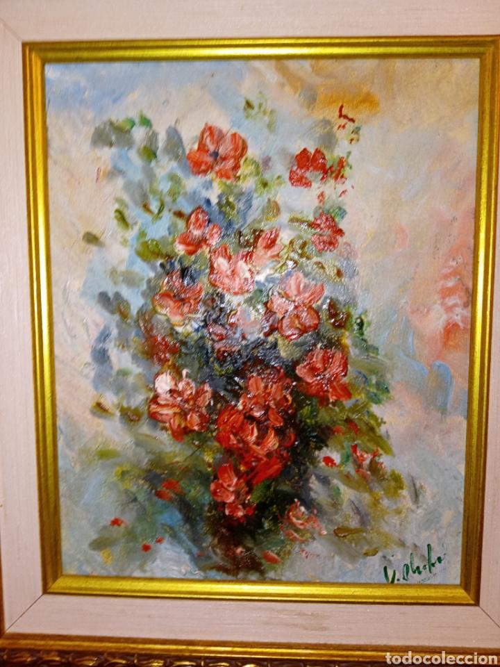 Arte: OLEO SOBRE LIENZO - BODEGON FLORAL - FIRMADO CHOLVE O CHOVAR - MARCO MADERA Y PAN DE ORO - Foto 4 - 195284297