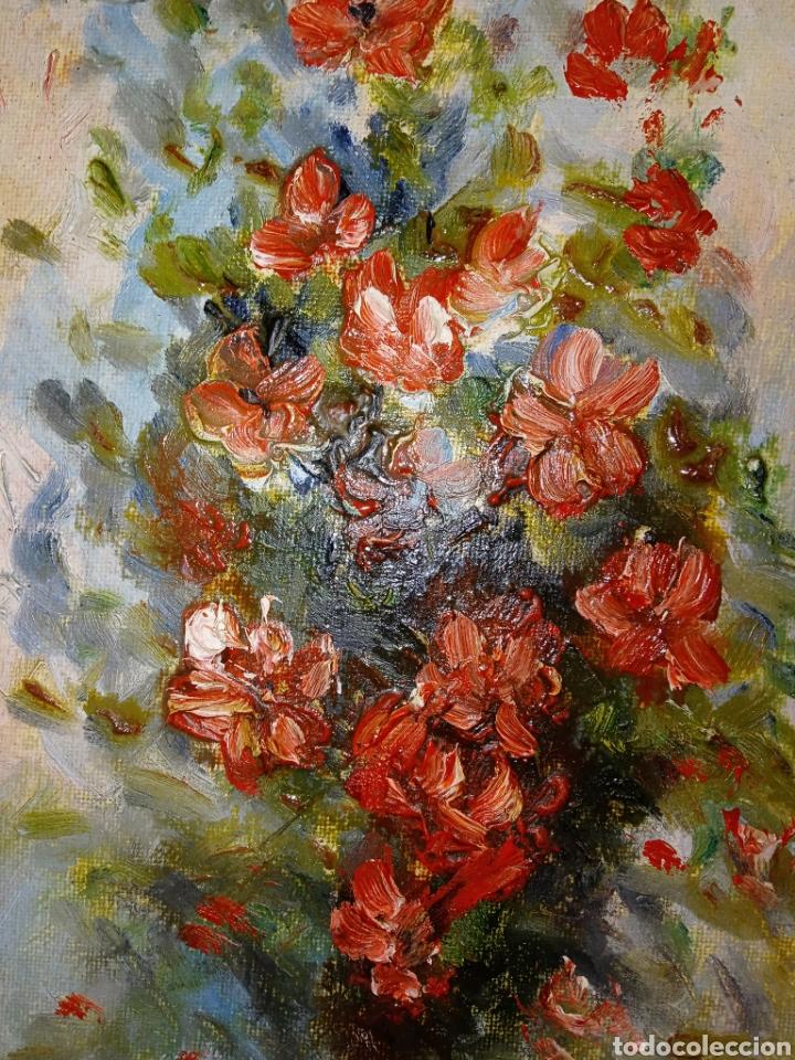 Arte: OLEO SOBRE LIENZO - BODEGON FLORAL - FIRMADO CHOLVE O CHOVAR - MARCO MADERA Y PAN DE ORO - Foto 5 - 195284297
