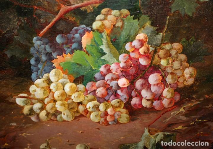 Arte: RAFAEL DEL VILLAR (Jerez de la frontera, 1873-1952) OLEO SOBRE TELA FECHADO DL 1893. BODEGON DE UVAS - Foto 5 - 195300308