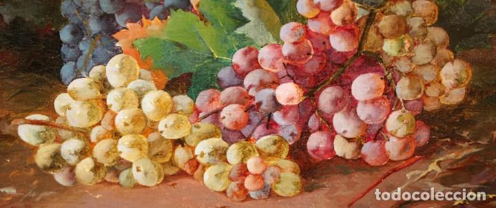 Arte: RAFAEL DEL VILLAR (Jerez de la frontera, 1873-1952) OLEO SOBRE TELA FECHADO DL 1893. BODEGON DE UVAS - Foto 6 - 195300308