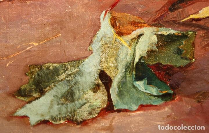 Arte: RAFAEL DEL VILLAR (Jerez de la frontera, 1873-1952) OLEO SOBRE TELA FECHADO DL 1893. BODEGON DE UVAS - Foto 8 - 195300308