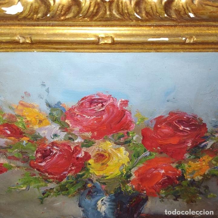 Arte: JARRÓN CON ROSAS. ÓLEO SOBRE LIENZO. ESTILO IMPRESIONISTA. ESPAÑA. SIGLO XIX - Foto 4 - 195301833