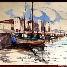 Arte: PINO LA VARDERA, INTERESANTE PINTURA ORIGINAL, PUERTO BANUS, FIRMADA.. Lote 195308560