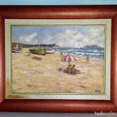 Arte: OLEO SOBRE TABLA. ESCENA MARINA. FIRMADO POR J. MAS. CON MARCO.. Lote 195330371