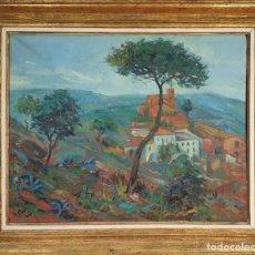 Arte: PAISAJE RURAL. ÓLEO SOBRE LIENZO. FIRMADO COT. 1955.. Lote 195354592