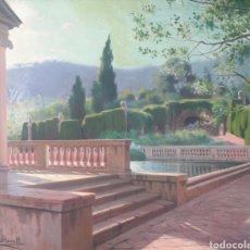 Arte: RAMON BORRELL I PLA (BARCELONA, 1876-1963) - PARQUE DEL LABERINTO DE HORTA.OLEO/TELA.FIRMADO.. Lote 195350682