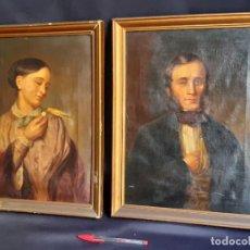 Arte: PAREJA DE RETRATOS. MARIA RETHEY DIESELDORFF Y MARIDO. ÓLEO SOBRE LIENZO. SIGLO XIX.. Lote 195379950