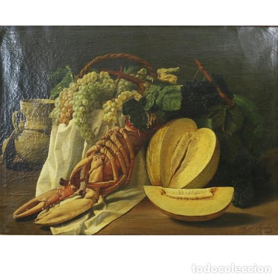 ESCUELA ESPAÑOLA, FFS. S. XIX. BODEGÓN. FIRMADO A. DEL AGUILA. (Arte - Pintura - Pintura al Óleo Moderna siglo XIX)