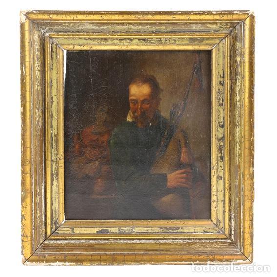ESCUELA ESPAÑOLA, S. XIX. GAITERO. (Arte - Pintura - Pintura al Óleo Moderna siglo XIX)