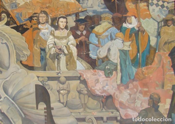 Arte: PINTURA HISTÓRICA DE POSTGUERRA. Óleo-lienzo en gran formato de 1943. - Foto 2 - 195381840