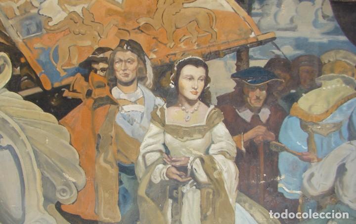 Arte: PINTURA HISTÓRICA DE POSTGUERRA. Óleo-lienzo en gran formato de 1943. - Foto 3 - 195381840