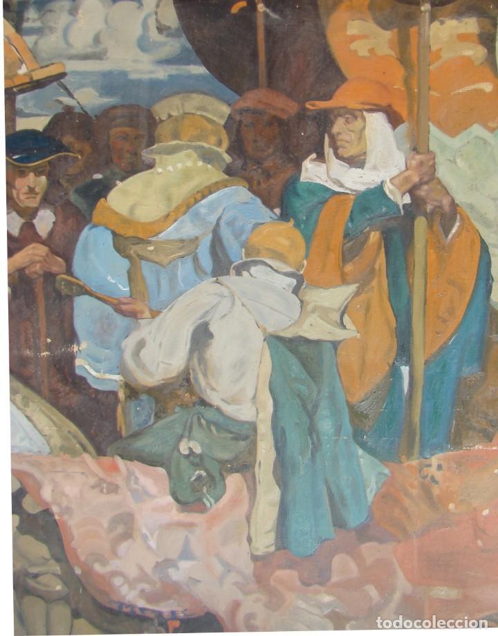 Arte: PINTURA HISTÓRICA DE POSTGUERRA. Óleo-lienzo en gran formato de 1943. - Foto 5 - 195381840