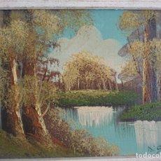 Arte: PAISAJE AL ÓLEO LAGO OTOÑAL FIRMADO DI GIOVANNI. Lote 195382851