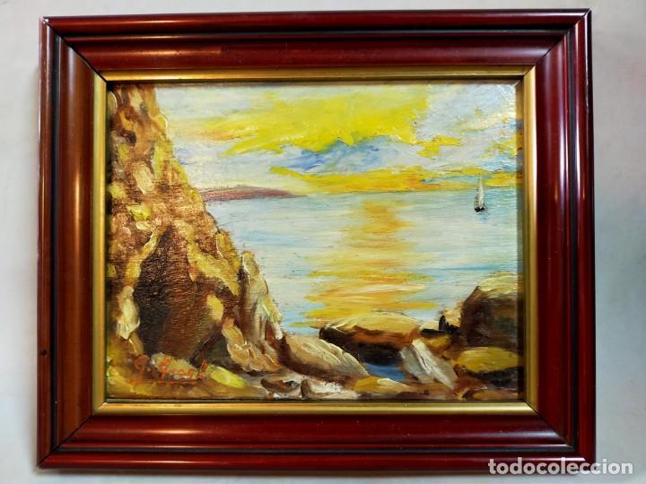 OLEO SOBRE TABLEX, PAISAJE COSTERO PUESTA DE SOL, FIRMADO (Arte - Pintura - Pintura al Óleo Moderna sin fecha definida)